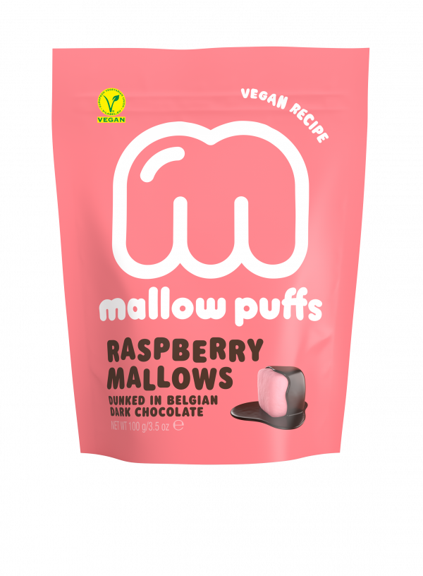 mallow puffs vegan raspberry mallows dunked in Belgian dark chocolate